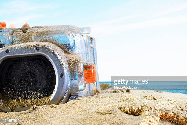 Underwater camera on the beach