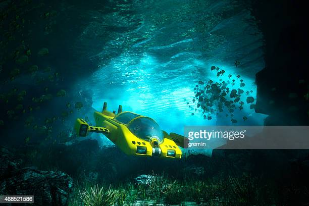 Underwater cave with submarine, sea, exploration