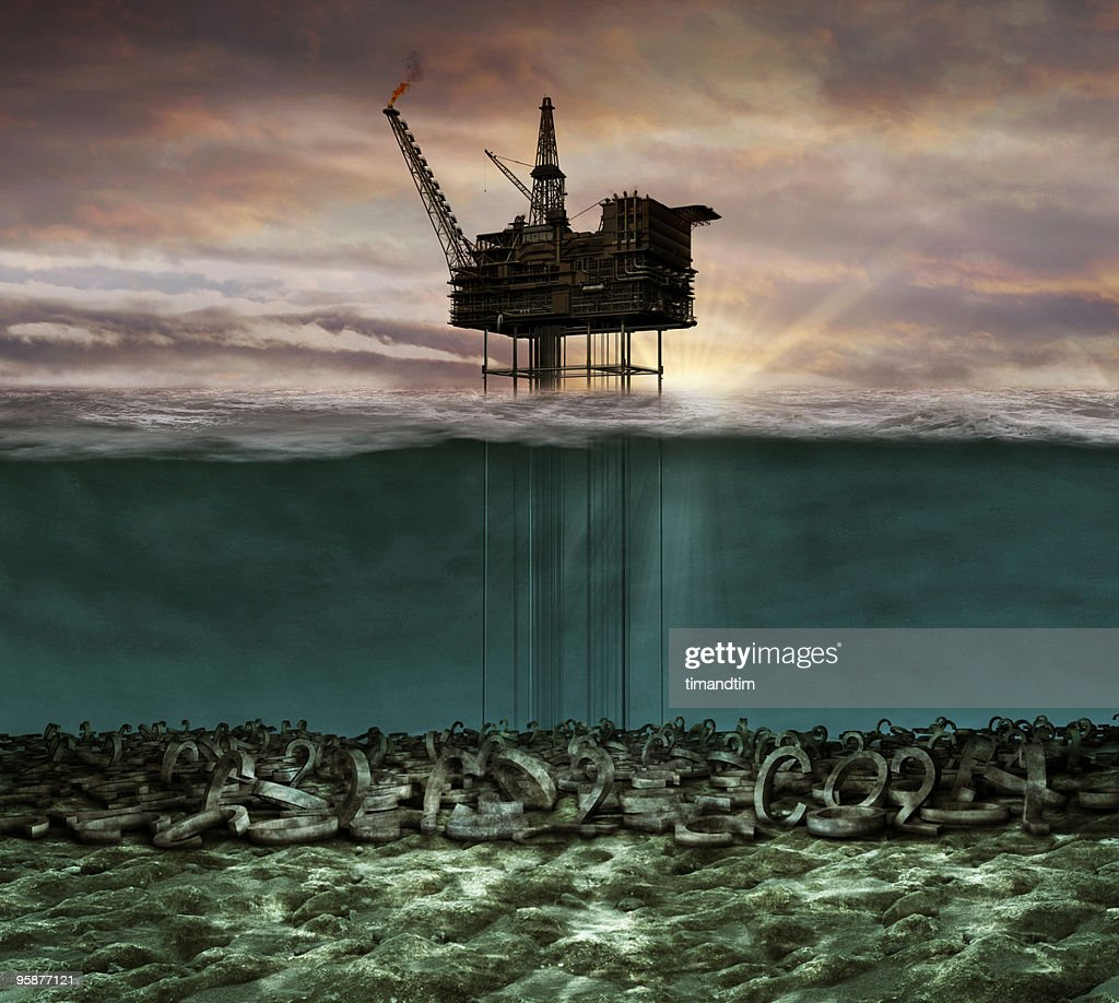Underwater co2 oil rig : Stock Photo