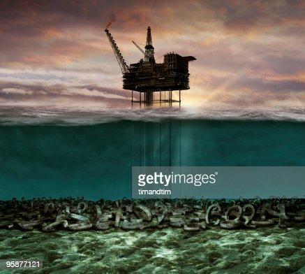Underwater co2 oil rig : Stock Photo