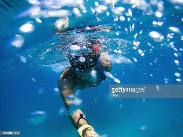Underwater diver selfie