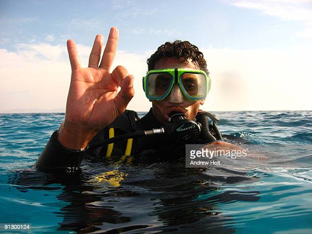 Underwater diving picture of scuba diver