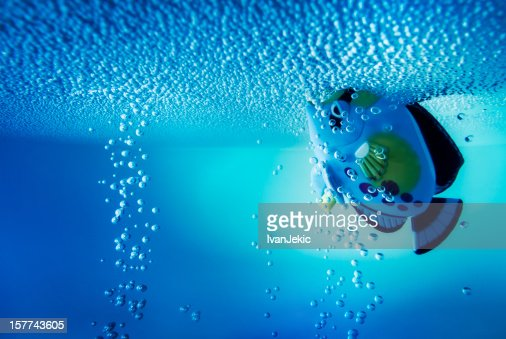 Underwater experience with a fish toy : Stock Photo
