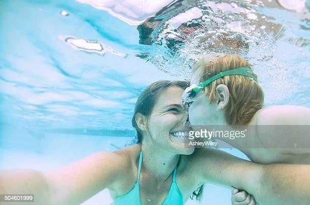 Underwater selfie kisses