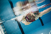 Underwater shot of young woman swimming in pool.  Female swimmer inside swimming pool.