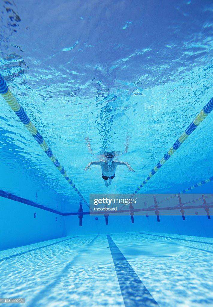 Underwater shot of male athlete swimming in pool : Stock Photo