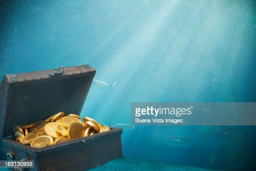 Underwater sunken treasure