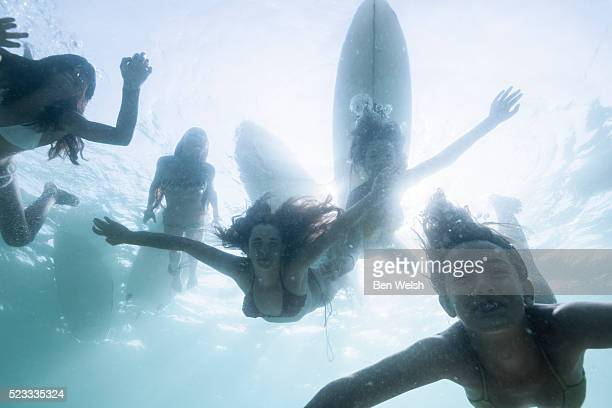 Underwater view of children swimming in the sea.