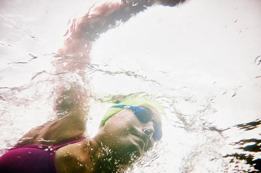 Underwater view of mature woman on open water swim
