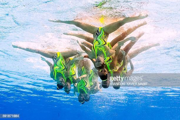 Underwater view shows team Ukraine competing in the Teams Technical Routine Final during the synchronised swimming event at the Maria Lenk Aquatics...