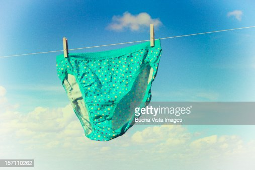 Underwear hanging on a washing-line