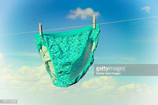 Underwear hanging on a washing-line