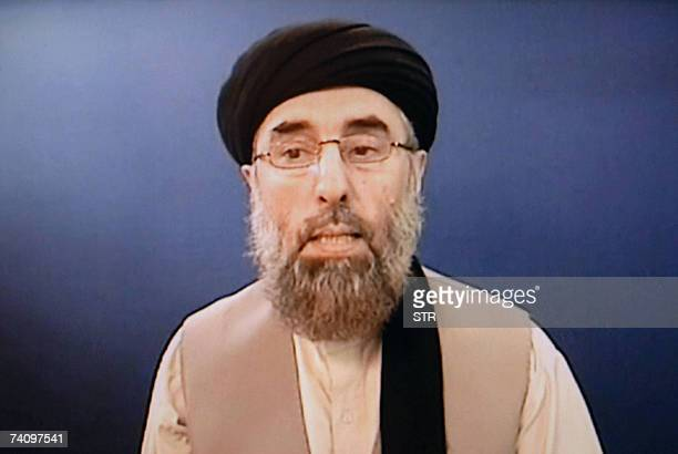 In this frame grab taken 05 May 2007 from a DVD delivered to AFP renegade Afghan warlord Gulbuddin Hekmatyar answers AFP questions at an undisclosed...