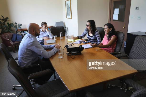 Undocumented immigrant activist Jeanette Vizuerra speaks with legislative officials on June 7 2017 in Denver Colorado Vizguerra was given a temporary...