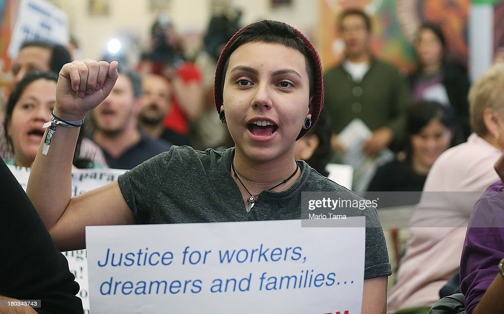 Undocumented immigrant Katherine Taberes, originally from Colombia, cheers during a watch party of U.S. President Barack Obama's speech on immigration on January 29, 2013 in New York City. Obama called for immigration reform and a 'pathway to citizenship' for the nation's 11 million undocumented immigrants.