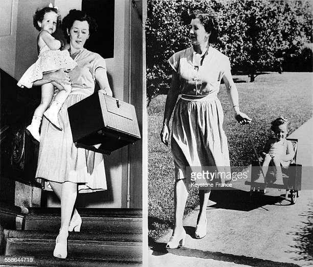 Une poussette portative a ete mise au point transportable comme une valise par la maman et utilisable comme une petite poussette par l'enfant en 1955...