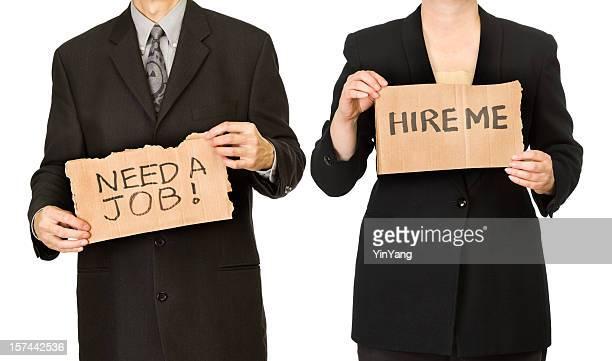 Homme et Femme d'affaires sans emploi des travailleurs en recherche d'emploi les panneaux