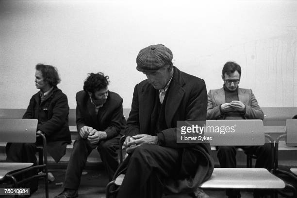 Unemployed men at the Elephant and Castle Labour Exchange in South London 1975