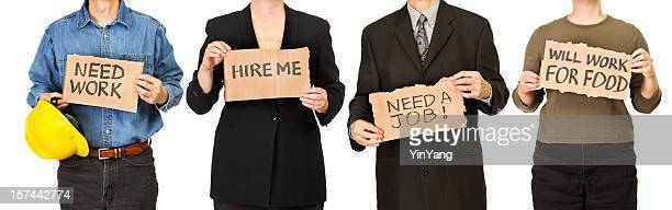 Unemployed Workers People Holding Cardboard Signs Searching for Job Recruitment