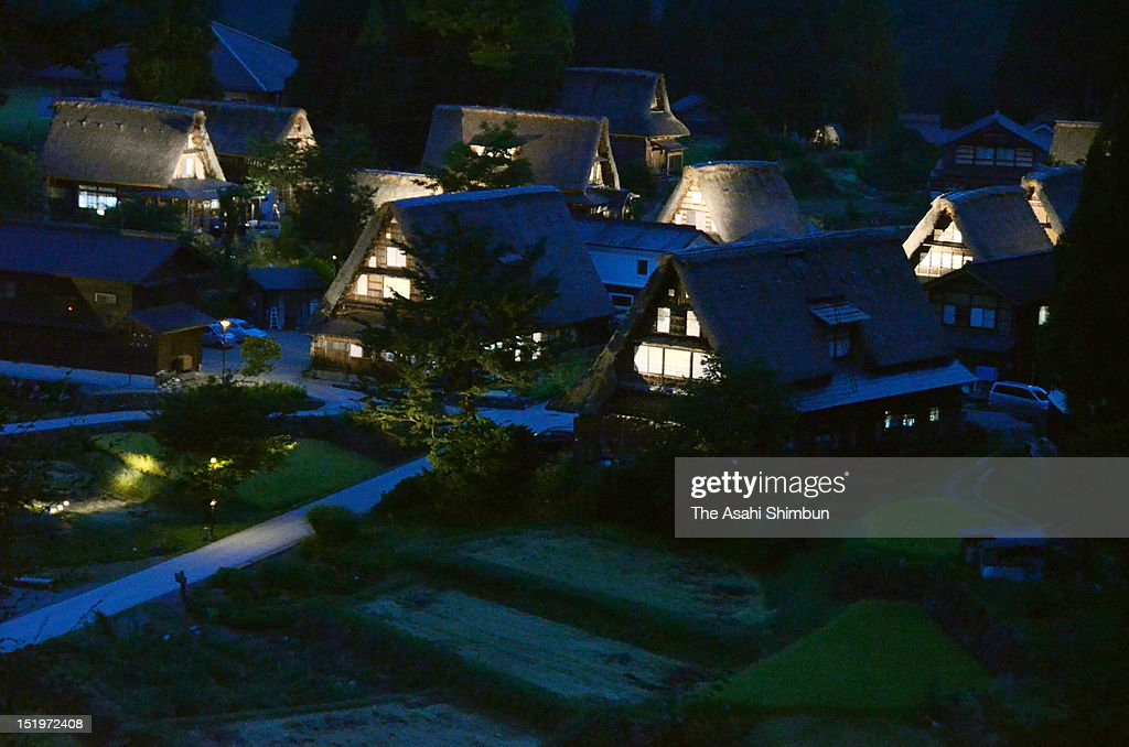 Unesco World Heritage Site of Ainokura village, with Gassho-Zukuri, or Japanese thatched-roof farmhouses lighted up at night on September 13, 2012 in Nanto, Toyama, Japan. The illumination will be until September 17.