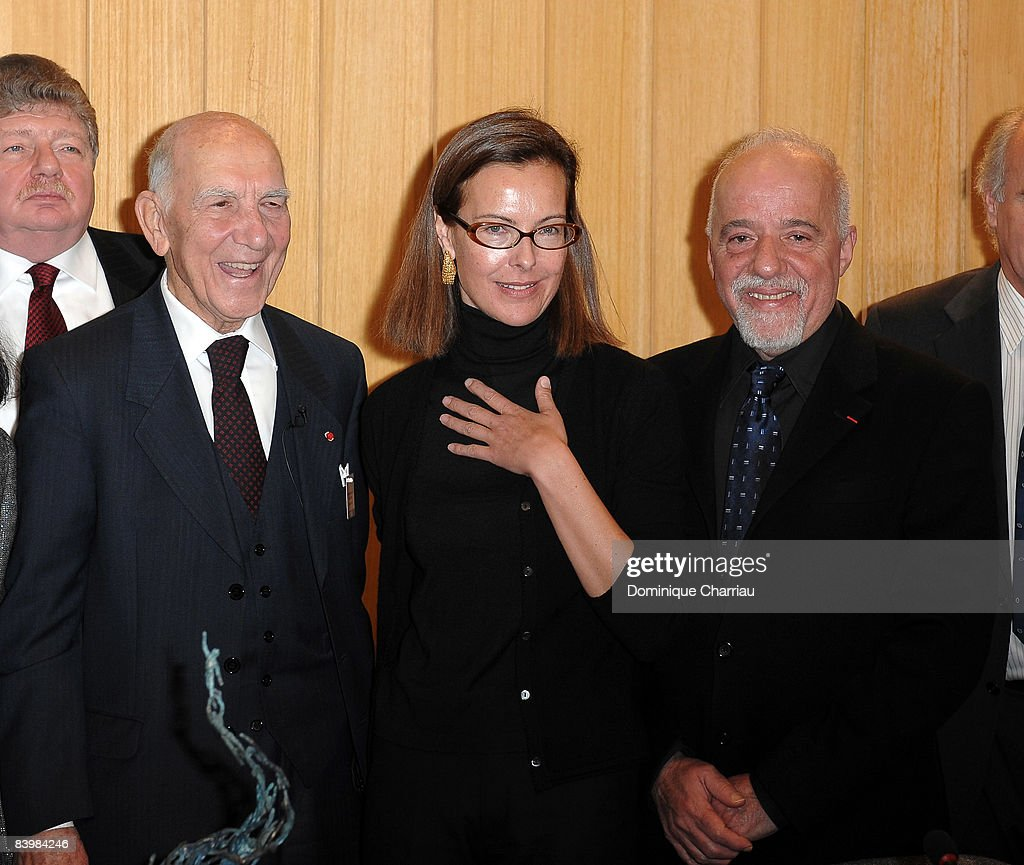 Bilbao Prize for the Promotion of a Culture of Human Rights Laureate Stephane Hessel, actress Carole Bouquet and author Paulo Coelho attend the UNESCO/Bilbao Prize for the Promotion of a Culture of Human Rights Press Conference at the UNESCO House on December 10, 2008 in Paris, France.