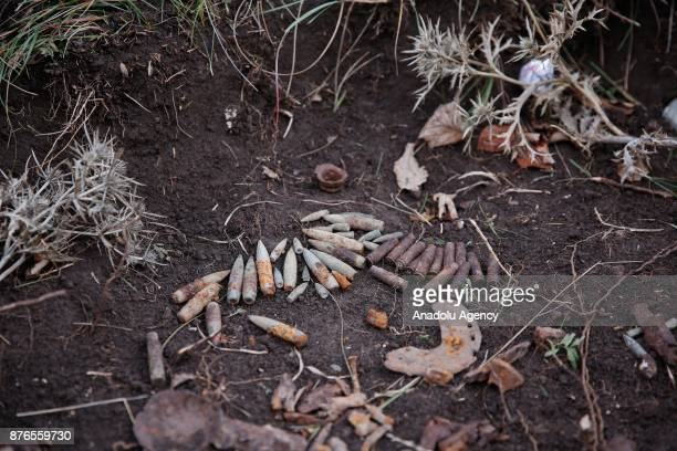 Unexploded ammunitions are seen at a minefield in a woodland in Sarajevo Bosnia and Herzegovina on November 20 2017 22 years after the signing of the...