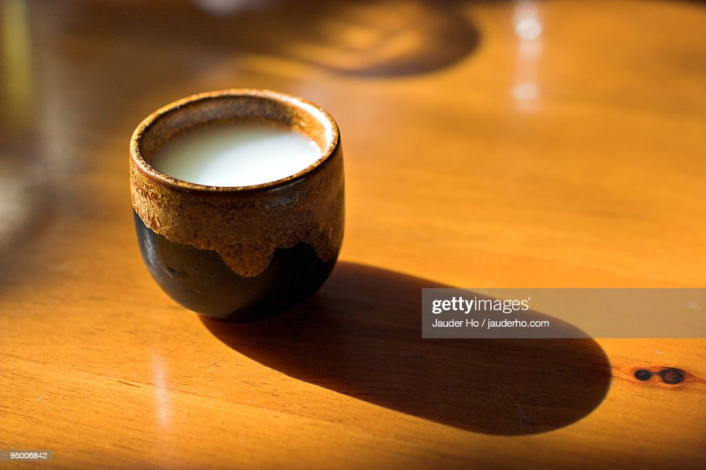 Unfiltered sake with shadow