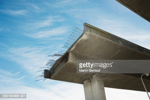 Unfinished elevated overpass, low angle view