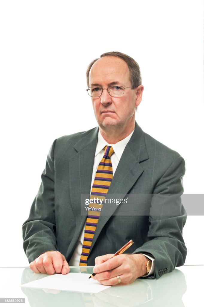 Unfriendly Businessman Signing a Paper Document on White Backgro
