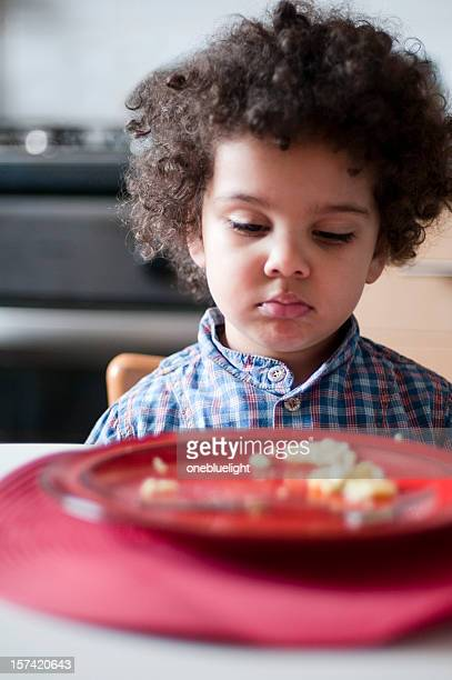 Unhappy Child looking at her empty plate