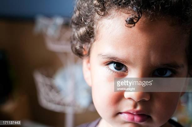 Unhappy Child Portrait, Close Up