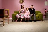 unhappy retro family