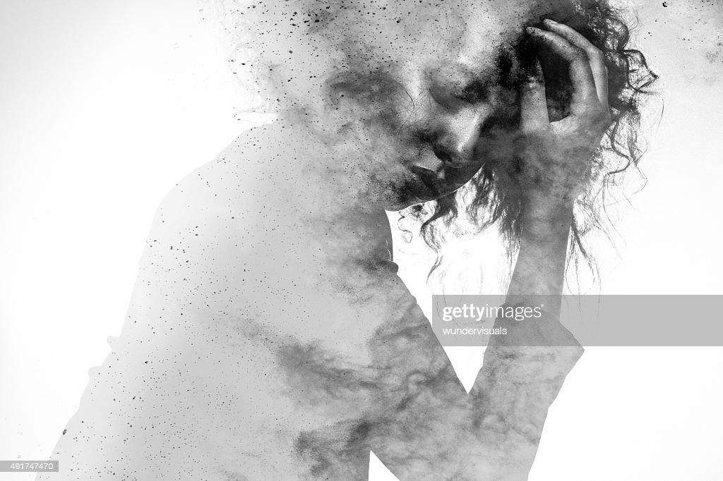 Unhappy woman's form double exposed with paint splatter effect : Stock Photo