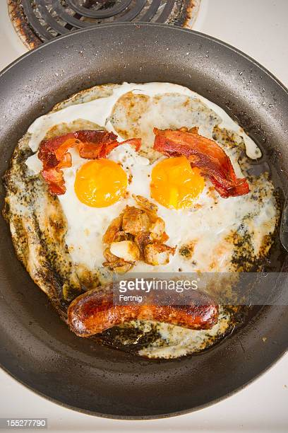 Unhealthy greasy fried breakfast