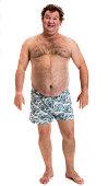 fat man in underwear on white background