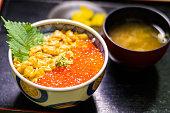Photography Of Uni & Ikura Bowl at Hakodate