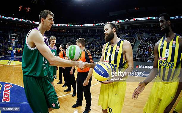 Unicaja Malaga players and Fenerbahce Istanbul players during the tip off ceremony during the Turkish Airlines Euroleague Basketball Top 16 Round 7...