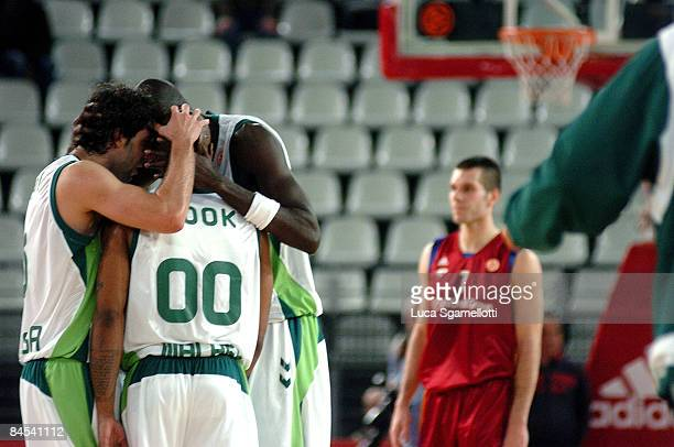 Unicaja players celebrate winning the Euroleague Basketball Top 16 Game 1 match between Lottomatica Roma v Unicaja on January 29 2009 at the...