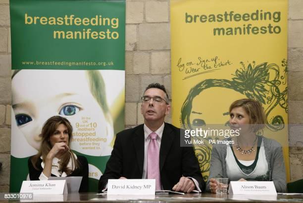 Unicef Ambassador Jemima Khan founding supporter of the Breastfeeding Manifesto Coalition David Kidney MP and spokesperson for the Coalition Alison...