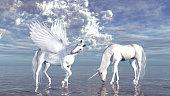 two fantasy horses: white unicorn and pegasus
