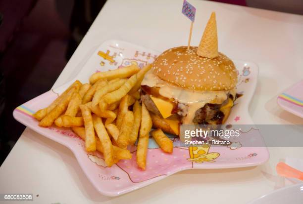 A unicorn burger at the Unicorn Cafe a unicorn and rainbow themed cafe in Bangkok Thailand