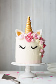 Unicorn cake on a cake stand