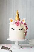Unicorn cake on a cake stand