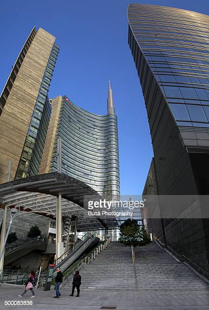 Unicredit tower complex in the Porta Nuova district of Milan, Italy