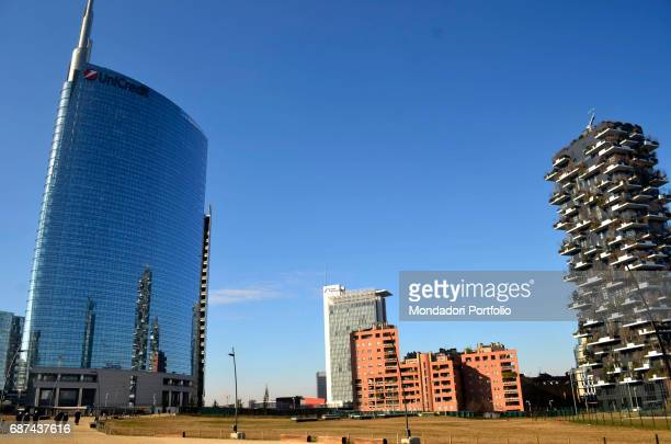 Unicredit Tower designed by C'sar Pelli and Vertical Forest designed by Boeri Studio Milan 15th January 2017