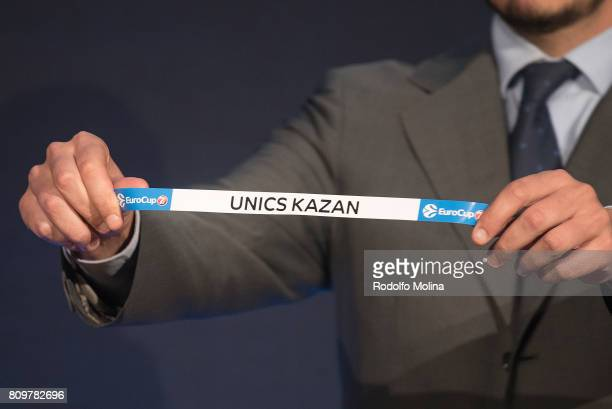 Unics Kazan is drawn during the 20172018 7Days EuroCup Draw at Imagina Centre Audiovisual on July 6 2017 in Barcelona Spain