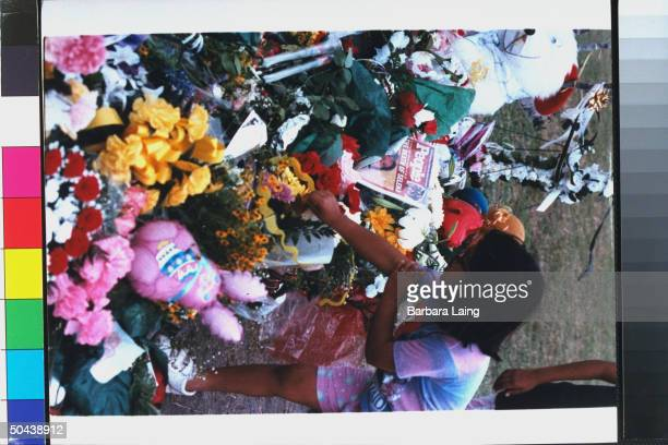 Unident young girl placing flowers on memorial for slain tejano singer Selena
