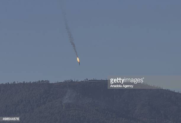 Unidentified aircraft goes down in Kizildag region of Turkey's Hatay province close to the Syrian border on November 24 2015 It remains unclear to...