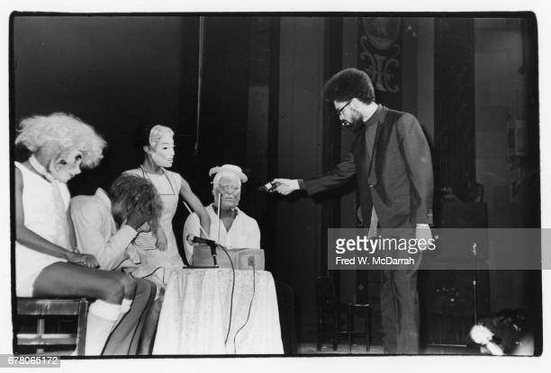Unidentified cast members perform a scene from the play 'Home on the Range' at Spirit House New York New York May 20 1968