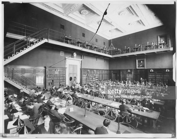 Unidentified library interior Columbia University New York New York 1895